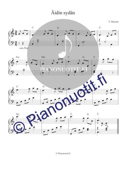 Äidin sydän (Ema sydä) - nuotti pianolle
