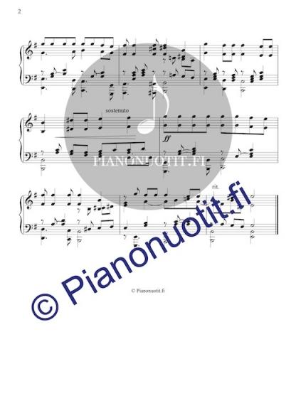 Aamulla varhain - kansanlaulusovitus pianolle, sivu 2