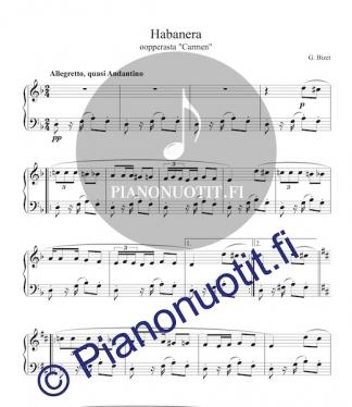 Habanera oopperasta Carmen, säv. Georges Bizet. Nuotti pianolle