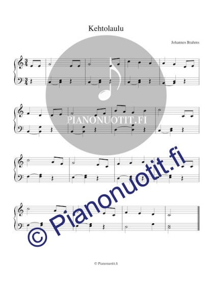 Johannes Brahms: Kehtolaulu. Nuotti, piano.