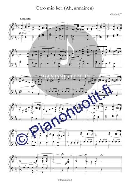 Caro mio ben (Ah, armainen). Pianonuotti.