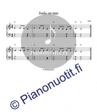 Joulu on taas - nuotti pianolle sointumerkeillä