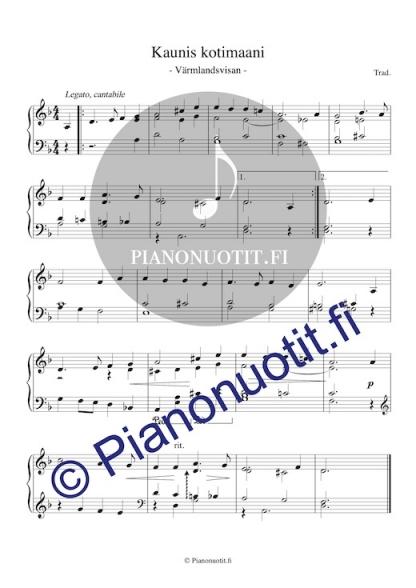 Kaunis kotimaani (Värmlandsvisan). Pianonuotti.