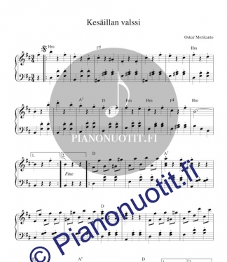 Oskar Merikanto: Kesäillan valssi. Nuotti pianolle tai harmonikalle.
