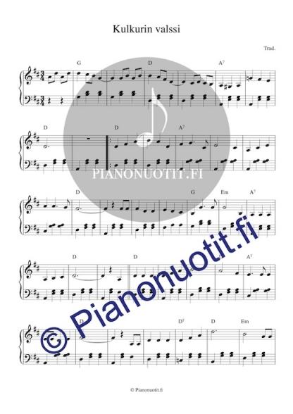 Kulkurin valssi. Pianonuotti.