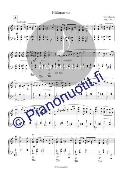 Toivo Kuula: Häämarssi. Helppo nuotti pianolle (C-duuri).