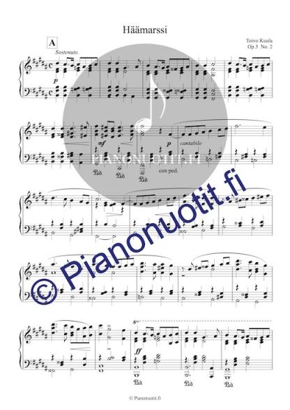 Toivo Kuula: Häämarssi. Helpotettu nuotti pianolle (H-duuri).
