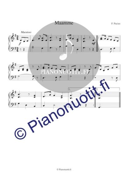Maamme-laulu. Pianonuotti.