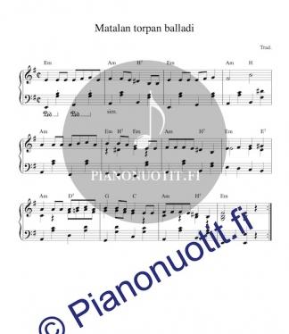 Matalan torpan balladi. Nuotti pianolle tai harmonikalle.