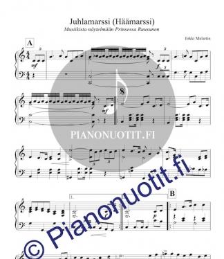 Melartin: Juhlamarssi musiikista Prinsessa Ruusunen. Häämarssi. Helppo nuotti pianolle.