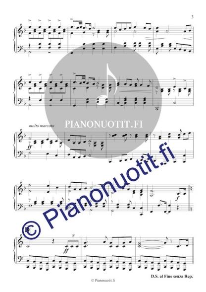 Melartin: Juhlamarssi musiikista Prinsessa Ruusunen. Häämarssi. Helppo nuotti pianolle. Sivu 3