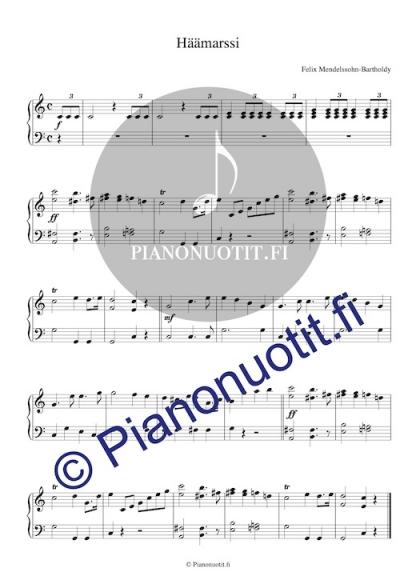 Felix Mendelssohn-Bartholdyn Häämarssi. Pianonuotti.