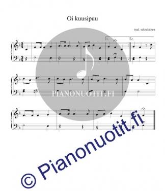Oi kuusipuu – O Tannenbaum – helppo nuotti pianolle