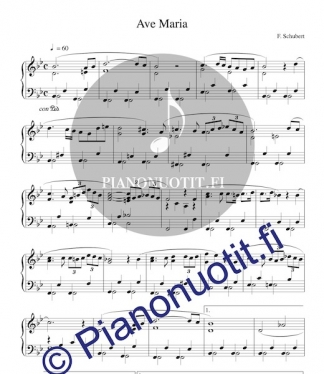 Franz Schubert: Ave Maria. Sovitus ja nuotti, piano.