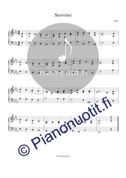 Suvivirsi – Virsi 571. Nuotti pianolle tai harmonikalle. Es-duuri.