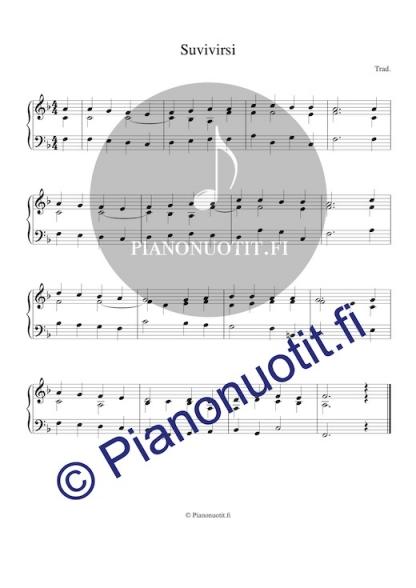 Suvivirsi – Virsi 571. Nuotti pianolle tai harmonikalle. F-duuri.