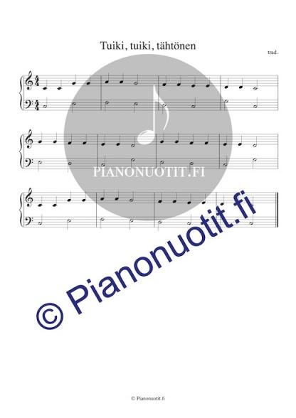 Tuiki, tuiki, tähtönen (blinka blinka lilla stjärna) pianonuotti